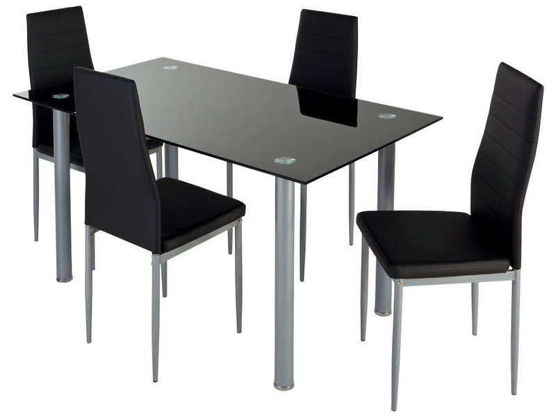Ensemble table 4 chaises featuring coloris noir vente for Table en verre et chaise