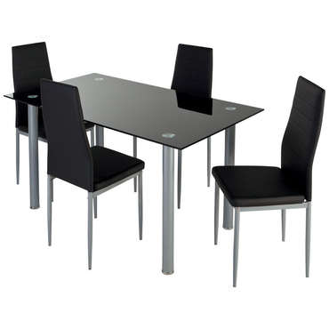 Ensemble table + 4 chaises FEATURING coloris noir