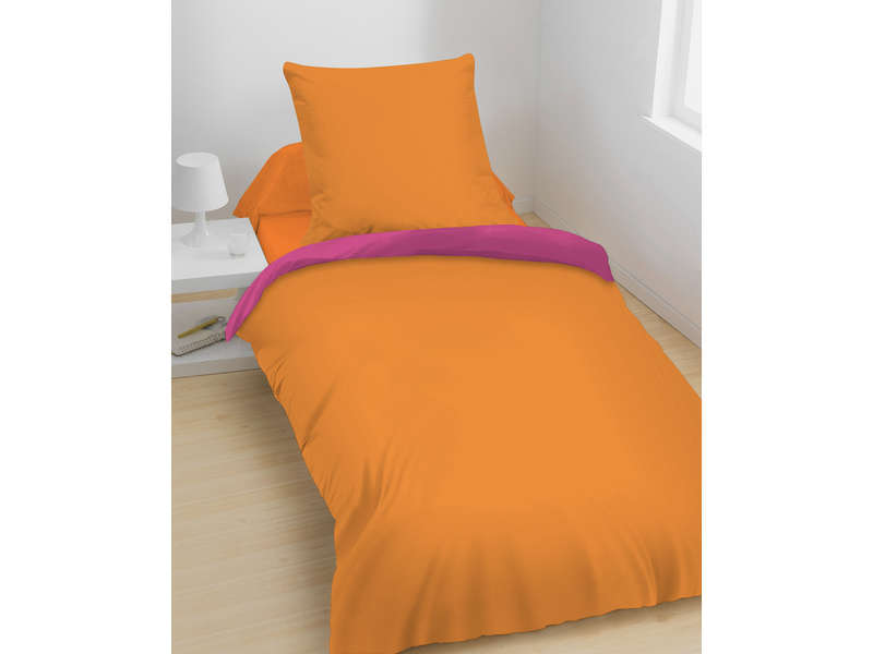 parure housse de couette 140x200 cm 1 taie d 39 oreiller peps coloris fushia orange chez conforama. Black Bedroom Furniture Sets. Home Design Ideas