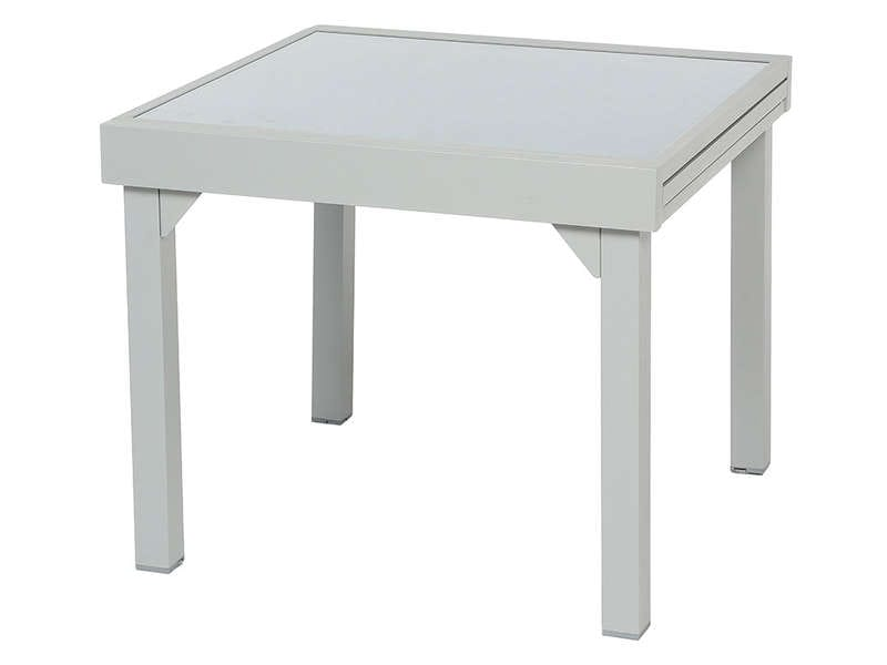 Table de jardin 90 cm avec allonge tenerife coloris silver for Table extensible 120 240 cm allonge integree