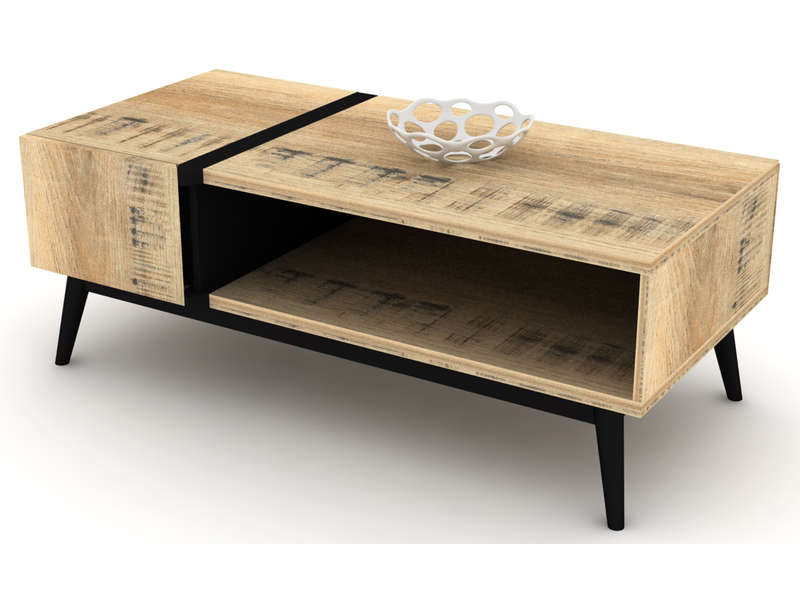 Table basse rectangulaire ETHNICA coloris grisnoir, pieds en métal  Vente -> Table Basse But
