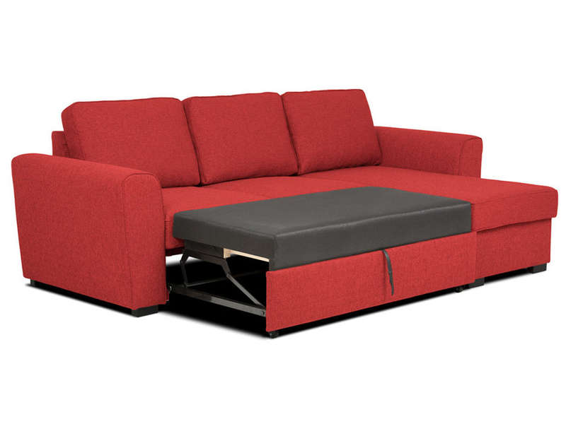 Canap d 39 angle convertible 4 places en tissu coffre de for Canape disponible immediatement