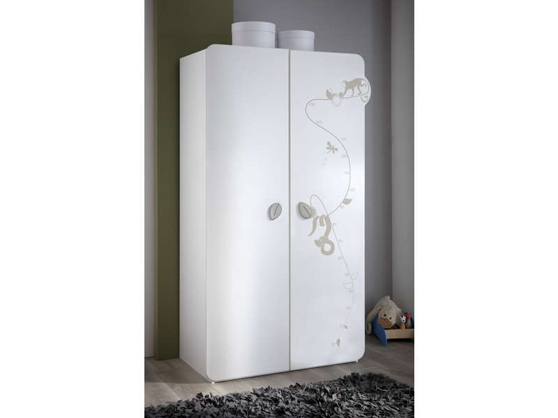 Armoire JUNGLE Coloris blanc décor jungle - Vente de Armoire ...