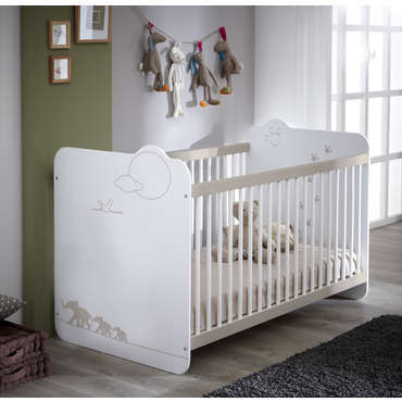 Lit bébé 60x120 cm JUNGLE coloris blanc décor jungle - Vente de ...