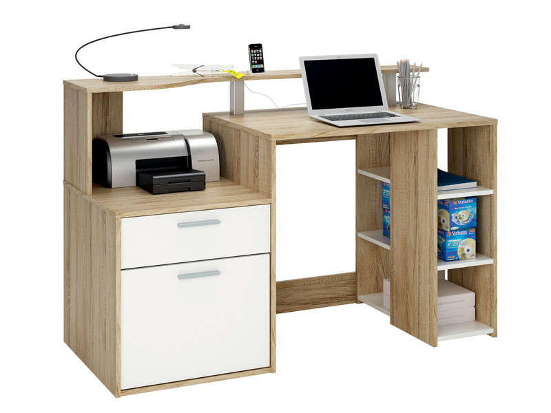 bureau 1 porte 1 tiroir 3 niches oracle coloris blanc et ch ne vente de bureau conforama. Black Bedroom Furniture Sets. Home Design Ideas