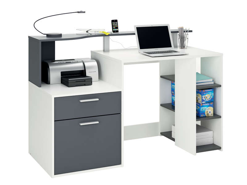 Bureau 140 cm oracle coloris blanc et gris vente de for Bureau conforama