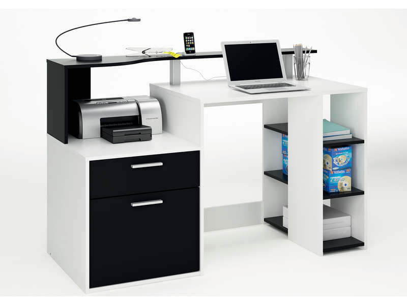 bureau oracle coloris blanc noir vente de bureau. Black Bedroom Furniture Sets. Home Design Ideas