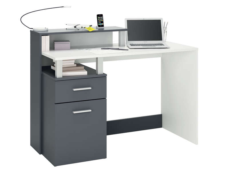 bureau 120 cm oracle coloris blanc gris vente de bureau. Black Bedroom Furniture Sets. Home Design Ideas