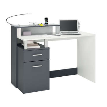 bureau 120 cm oracle coloris blanc gris vente de bureau conforama. Black Bedroom Furniture Sets. Home Design Ideas
