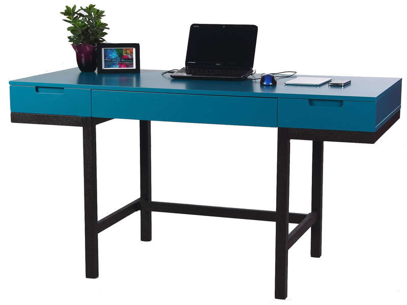 bureau 2 tiroirs 140 cm blue vente de bureau conforama. Black Bedroom Furniture Sets. Home Design Ideas