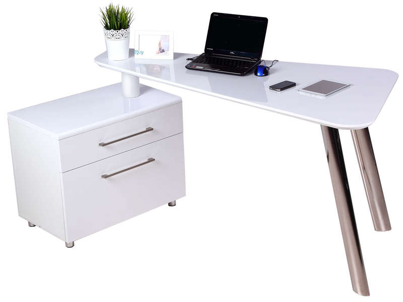bureau 140 cm caisson 2 tiroirs travis coloris blanc. Black Bedroom Furniture Sets. Home Design Ideas