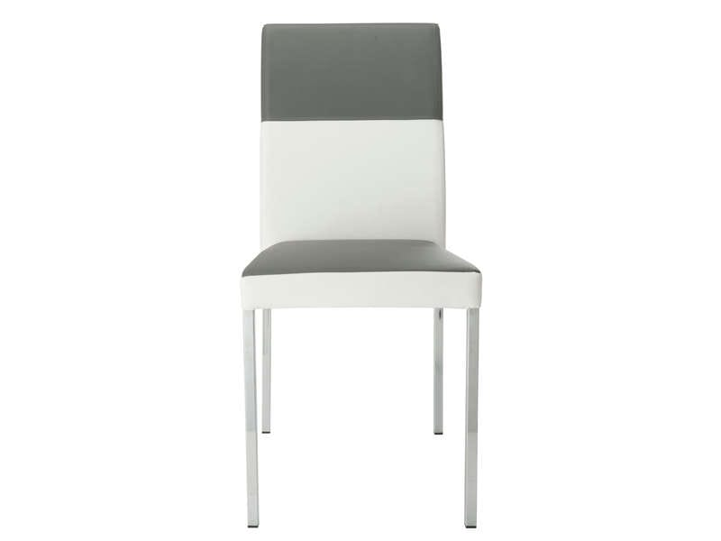 Chaise empilable milo coloris gris blanc vente de chaise for Salon salle a manger conforama