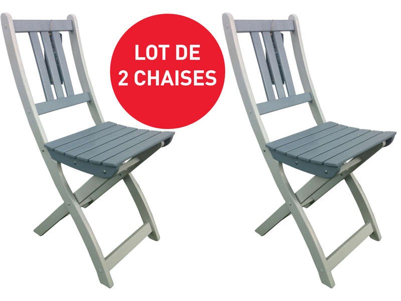 lot de 2 chaises pliantes de jardin trinidad coloris gris vente de 40 de remise conforama. Black Bedroom Furniture Sets. Home Design Ideas