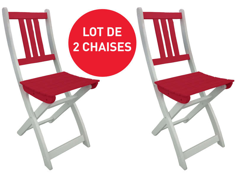 Lot de 2 chaises pliantes de jardin trinidad coloris rouge - Chaise de bar pliante ...