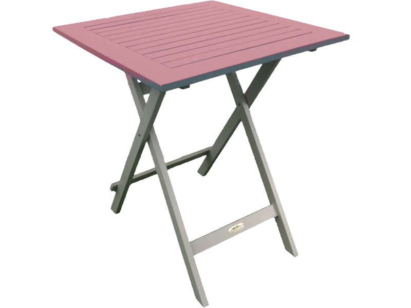 Table de jardin 65 cm pliante trinidad coloris rose for Table de jardin carree
