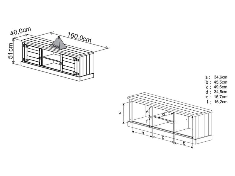 meuble tv 160 2 cm saraya coloris blanc vieilli vente de meuble tv conforama. Black Bedroom Furniture Sets. Home Design Ideas