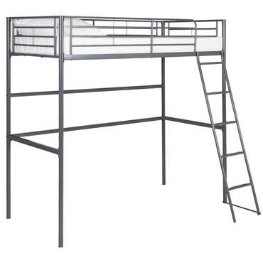 lit mezzanine 90x190 cm gris new line vente de lit enfant conforama. Black Bedroom Furniture Sets. Home Design Ideas