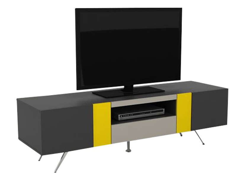 meuble tv design laque blanc livo. Black Bedroom Furniture Sets. Home Design Ideas