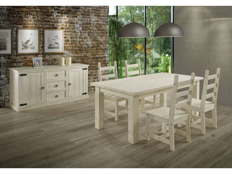 Table rectangulaire avec allonge 230 cm max saraya en pin for Table sejour conforama