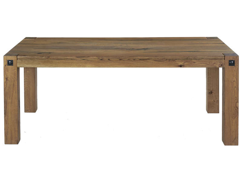 Table rectangulaire 200 cm louis coloris ch ne antique for Table de cuisine rectangulaire en bois