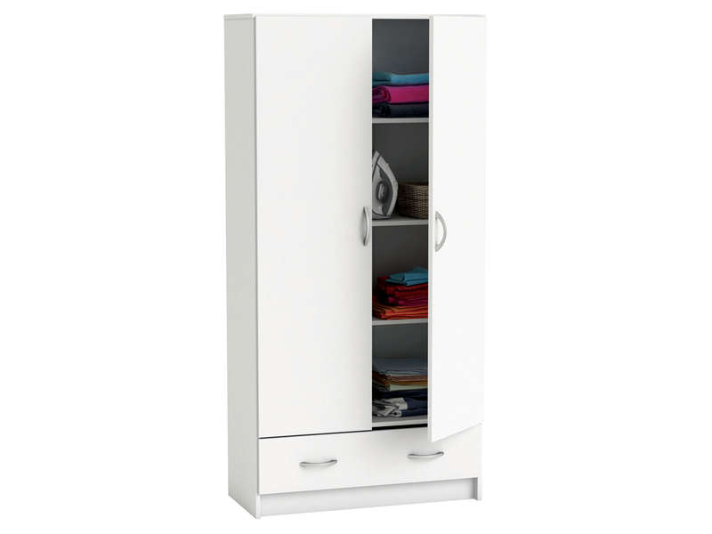 armoire cobi coloris blanc vente de armoire conforama. Black Bedroom Furniture Sets. Home Design Ideas