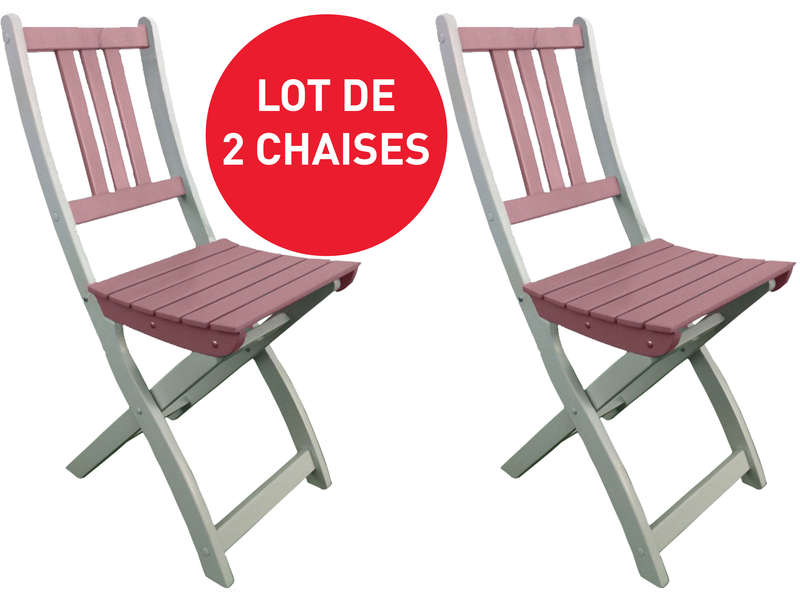 Lot de 2 chaises pliantes de jardin trinidad coloris rose for Lot chaise de jardin
