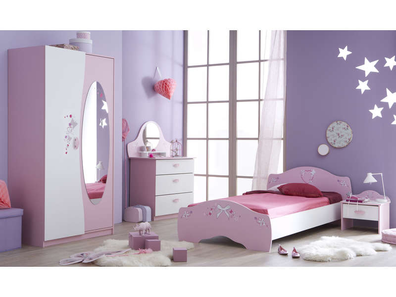 Lit 90x190 cm papillon vente de lit enfant conforama for Lit princesse adulte