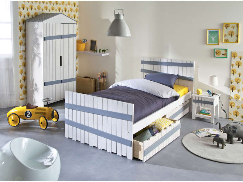 lit 90x200 cm amazone coloris blanc et gris vente de lit enfant conforama. Black Bedroom Furniture Sets. Home Design Ideas