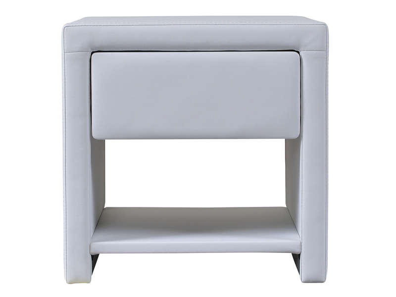 Chevet 1 tiroir 1 niche calipso coloris blanc vente de chevet adulte conf - Table de chevet cuir blanc ...
