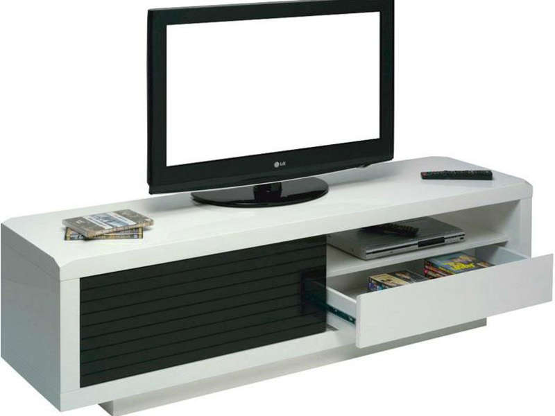 Meuble tv blanc laque conforama solutions pour la for Meuble tv conforama occasion