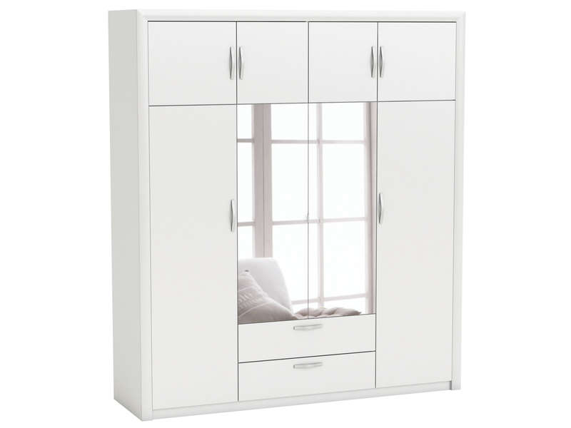 armoire 8 portes pluton coloris blanc vente de armoire conforama. Black Bedroom Furniture Sets. Home Design Ideas
