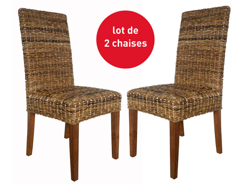 lot de 2 chaises en rotin abaca vente de chaise conforama. Black Bedroom Furniture Sets. Home Design Ideas