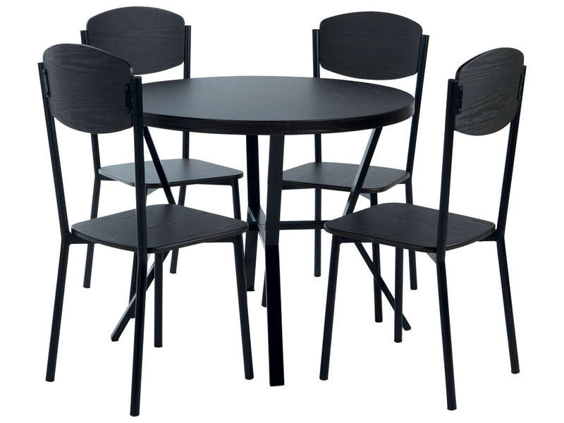 Ensemble table + 4 chaises CABESTAN coloris noir - Vente de Ensemble ...