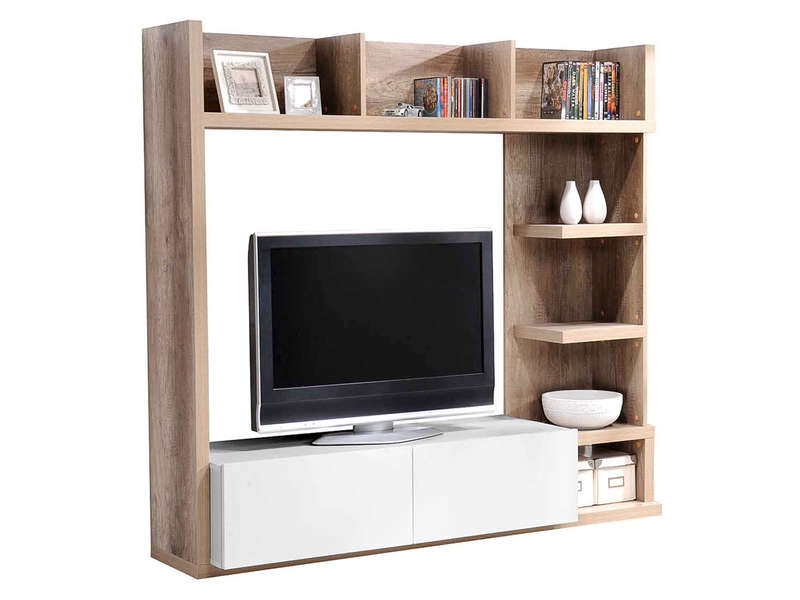 Living tv 159 cm finition brillant leader coloris ch ne et for Meuble tv living