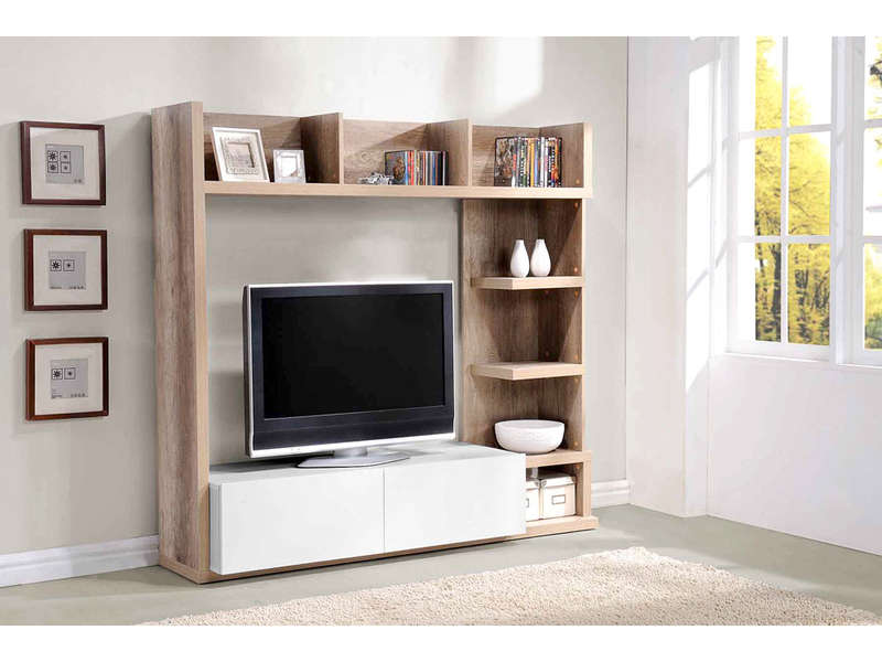 Meuble tv bois massif conforama for Living meuble tv
