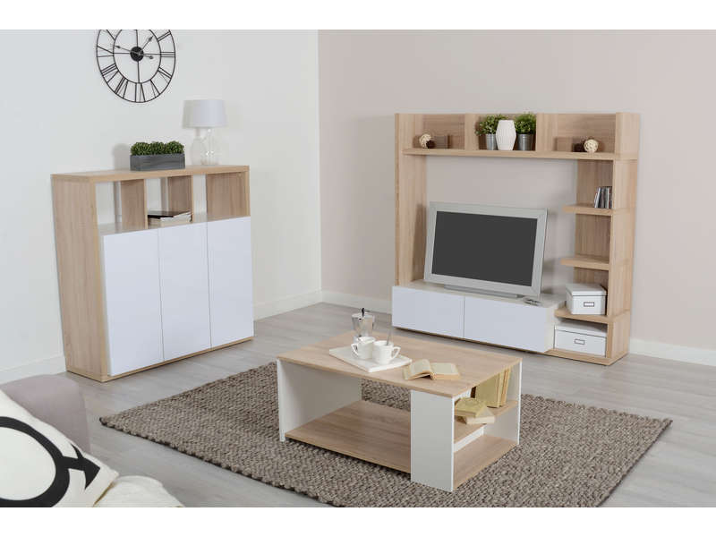 living tv 159 cm finition brillant leader coloris ch ne et blanc vente de meuble tv conforama