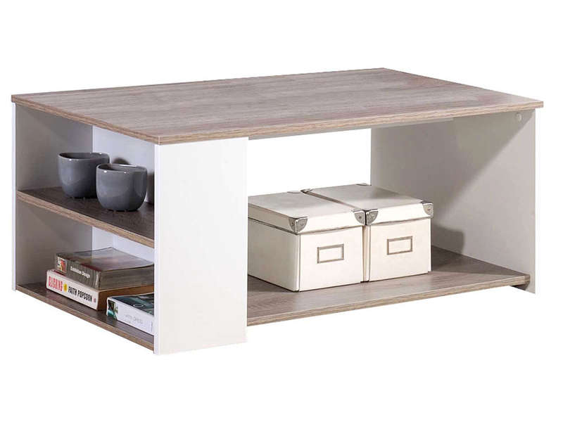 Table basse leader coloris ch ne et blanc vente de table for Table de salon moderne pas cher