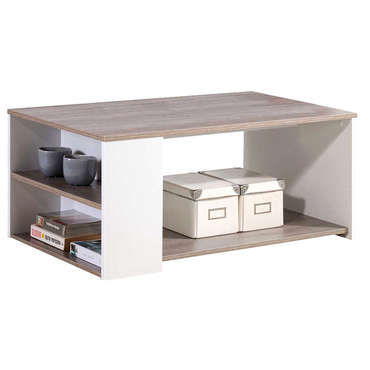 Table basse rectangulaire 1 grande niche 2 niches c t leader coloris ch ne g - Table marbre conforama ...