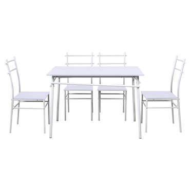 Ensemble table 4 chaises kiat coloris blanc vente de ensemble table et chaise conforama - Ensemble tafel et chaise salle a trog ...