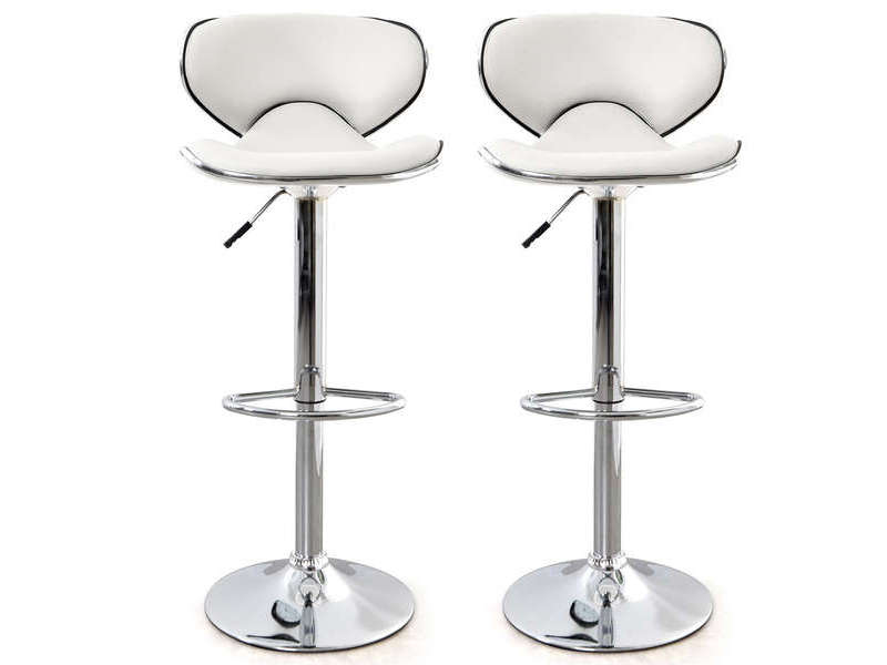 lot de 2 tabourets de bar r glable en hauteur arno coloris blanc vente de bar et tabouret de. Black Bedroom Furniture Sets. Home Design Ideas