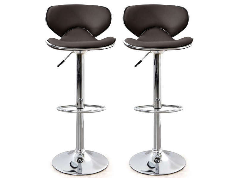 Lot de 2 tabourets de bar r glable en hauteur arno coloris chocolat vente d - Tabouret de bar chocolat ...