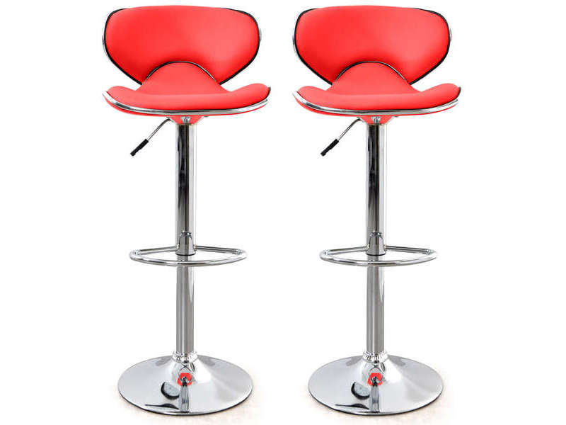 Lot de 2 tabourets de bar r glable en hauteur arno coloris for Tabouret de cuisine rouge