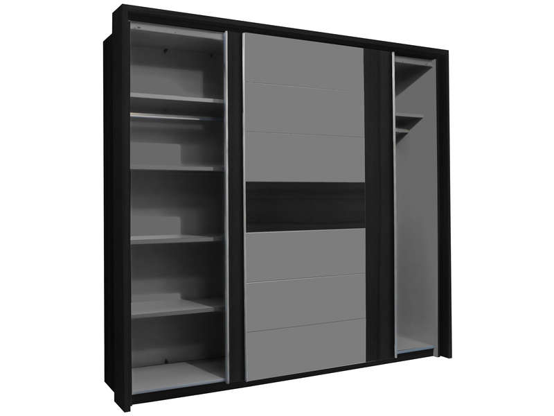 armoire 2 portes coulissantes dolce black edition coloris ch ne noir et gris mat vente de. Black Bedroom Furniture Sets. Home Design Ideas