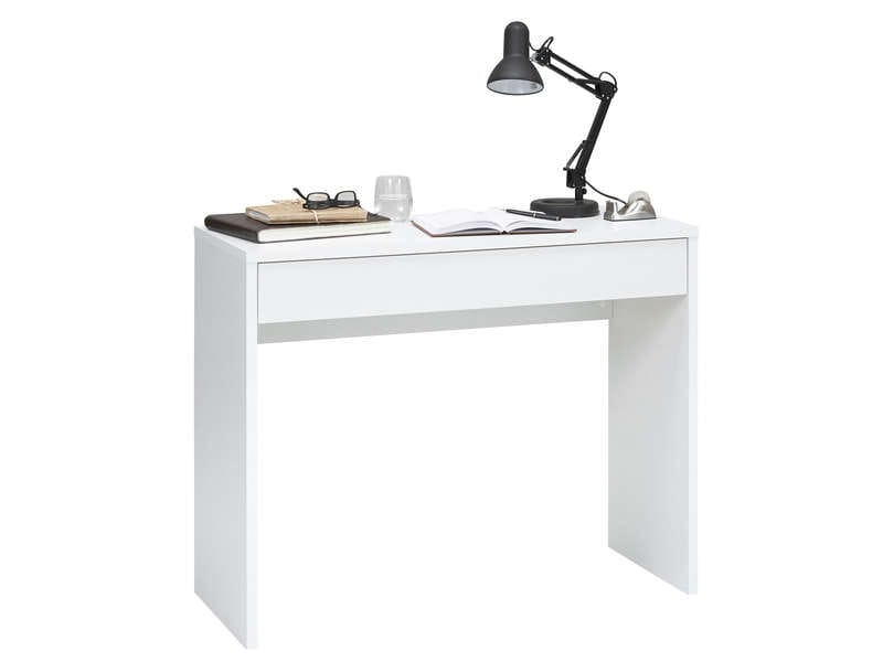 bureau 1 tiroir checker coloris blanc vente de bureau. Black Bedroom Furniture Sets. Home Design Ideas