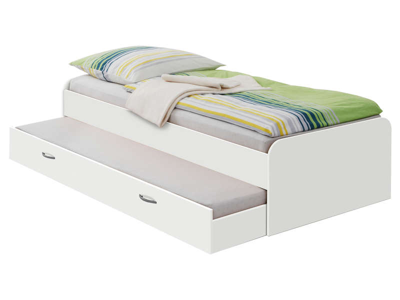lit gigogne 90x200 cm pedro coloris blanc vente de lit enfant conforama. Black Bedroom Furniture Sets. Home Design Ideas
