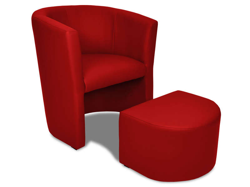 cabriolet pouf manon coloris rouge en pu vente de tous. Black Bedroom Furniture Sets. Home Design Ideas