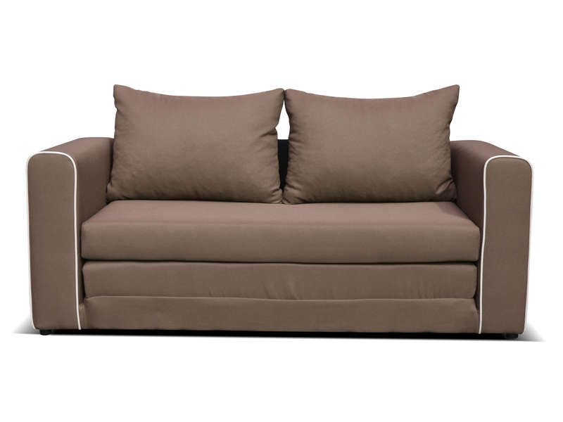Canap convertible 2 places en tissu laura coloris marron for Lit une place convertible deux places