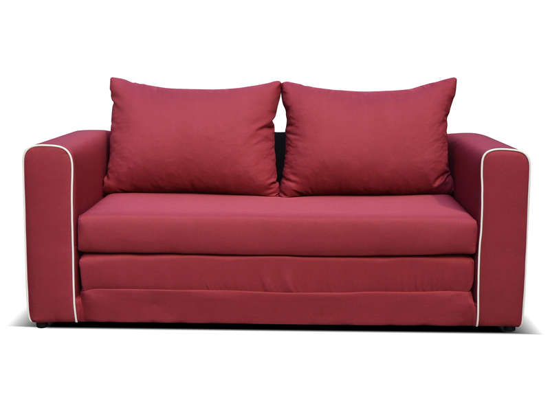 Canap fixe convertible 2 places en tissu laura coloris for Canape 2 places rouge