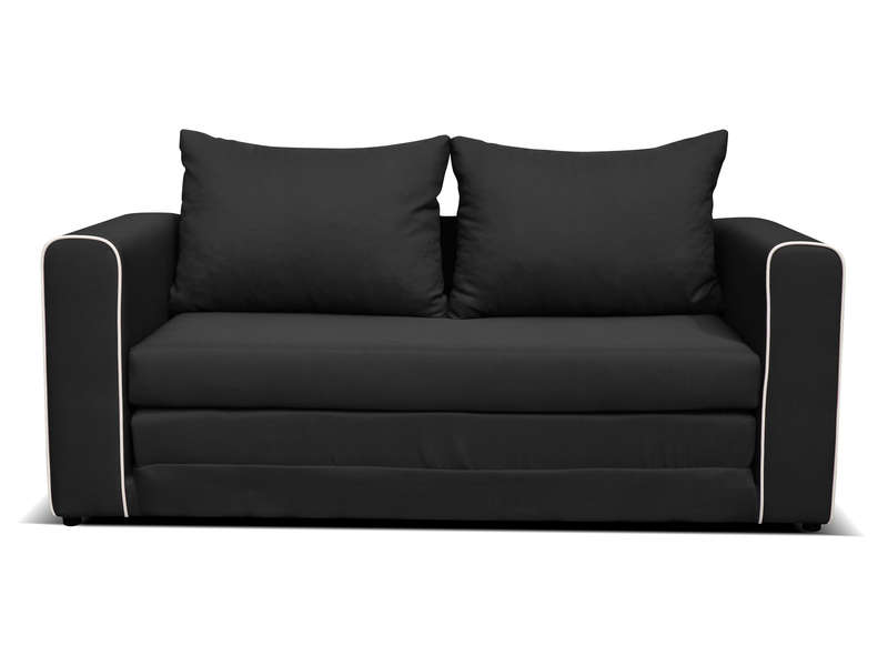 canap fixe convertible 2 places en tissu laura coloris noir vente de canap droit conforama. Black Bedroom Furniture Sets. Home Design Ideas