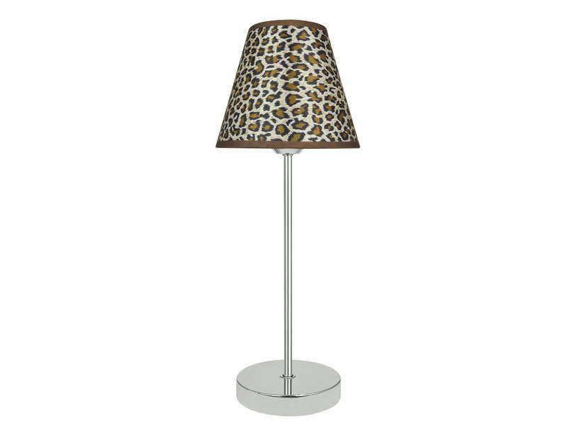 lampe poser leo motif l opard chez conforama. Black Bedroom Furniture Sets. Home Design Ideas